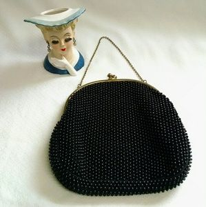 Vintage 1950s  Black beaded clutch purse.